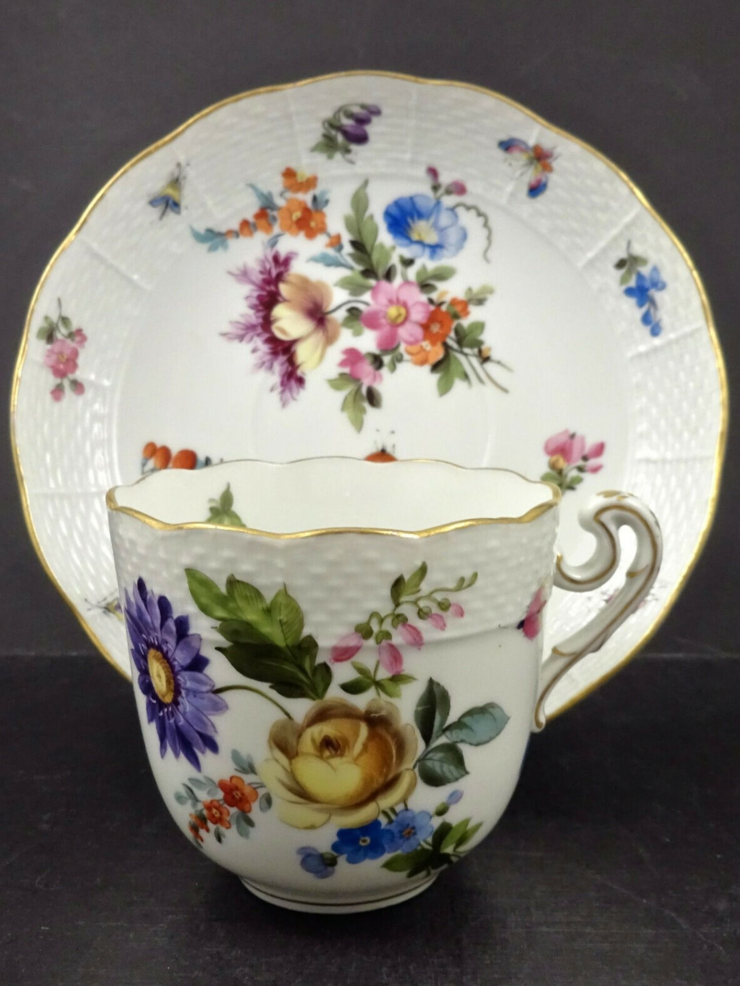 Antique Herend Tea Cup Saucer Meissen