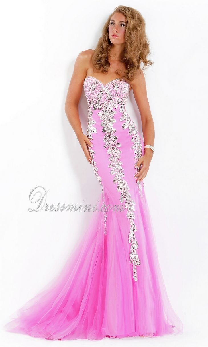 Pink Mermaidtrumpet Strapless Longfloor Length Sparkly Prom Dress