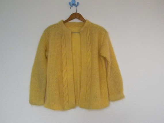 Vintage ladies knit yellow cardigan sweater preppy hipster nerd ...