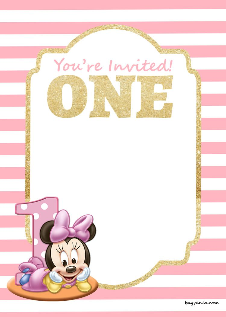 Download Now FREE Printable Disney Princess 1st Birthday Invitations Templates