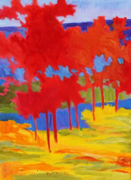 """""""Blue Ridge Above Tally Lake"""" by Marshall Noice. Can you guess what season Marshall painted this in? #art #fineart #painting #arttovisit #gallery #painter #artist #artalive #lifeofanartist #supportart #artbeat #modernart #contemporaryart #santafe #newmexico #canyonroad #okeeffecountry #newmexicotrue #southwest #red #fall #autumn #seasons #yellow #blue #landscape #forest #trees #leaves"""