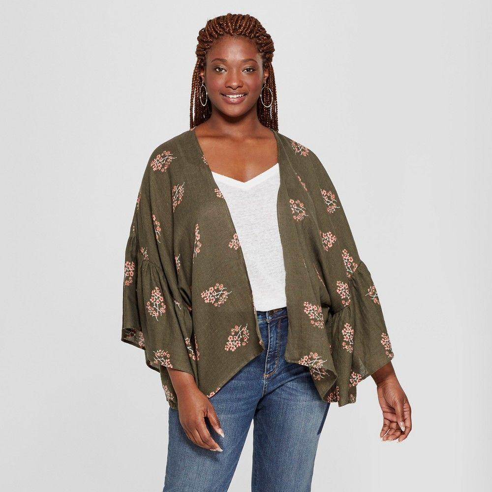 Womenus plus size floral print woven patterned flounce sleeve kimono