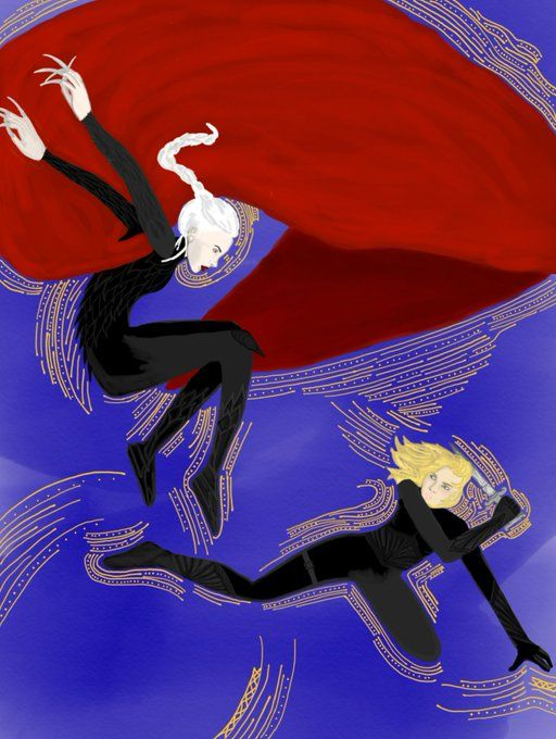 Manon/Aelin battle scene art