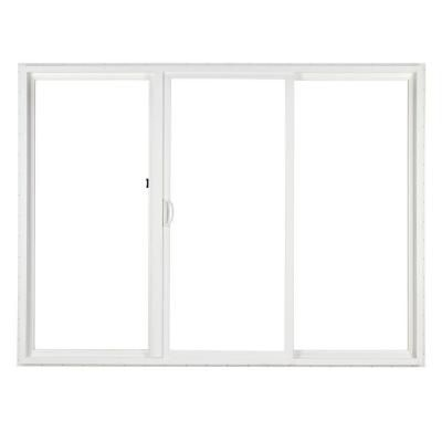 Simonton 120 In X 80 In 3 Panel White Contemporary Sliding Patio Door With Prosolar Lowe Glas Vinyl Sliding Patio Door Vinyl Patio Doors Glass Doors Interior