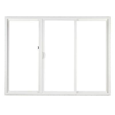 Simonton 120 In X 80 In 3 Panel White Contemporary Sliding Patio Door With Prosolar Lowe Glas Vinyl Sliding Patio Door Vinyl Patio Doors Glass Doors Interior