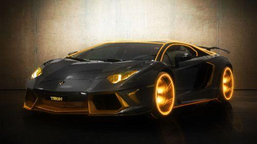Cars Orange Tron Digitalized Supercars Lamborghini Aventador
