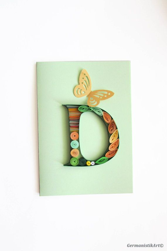 Personalized D Initial Letter Card Quilled by GermanistikArt