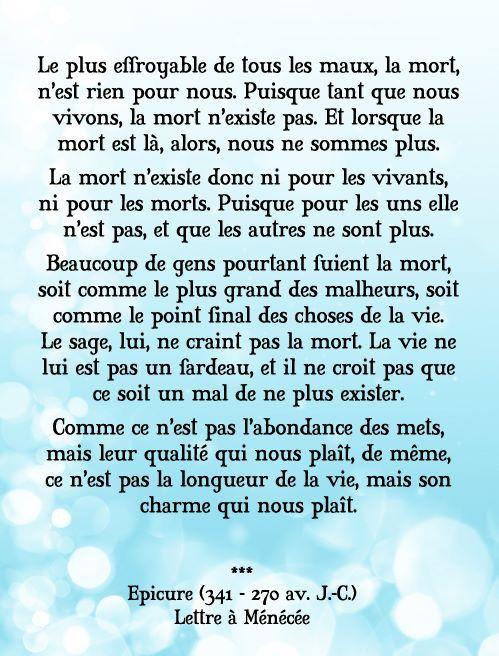 Epicure Lettre A Menecee Via Frederic Lenoir Citation Pensee Citation Prieres Chretiennes