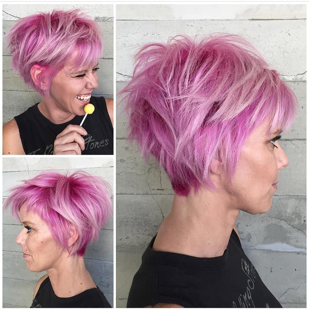 Bubblegum punk wonderful pink hair color and short messy style by