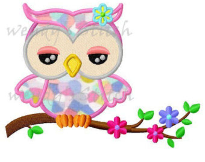 Girl owl applique machine embroidery design digital pattern