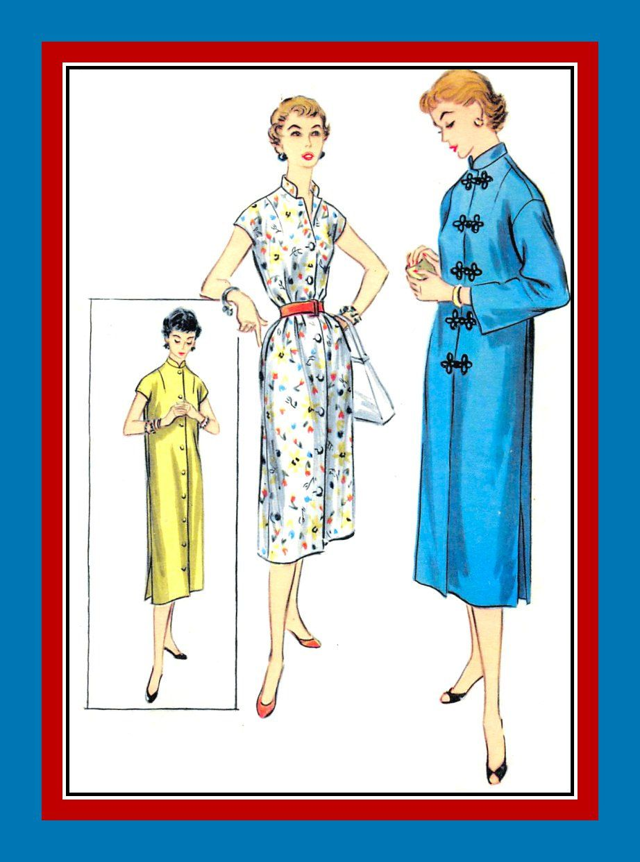 Vintage 1955-Elegant Asian Style Duster Coat-Dress-Sewing Pattern ...