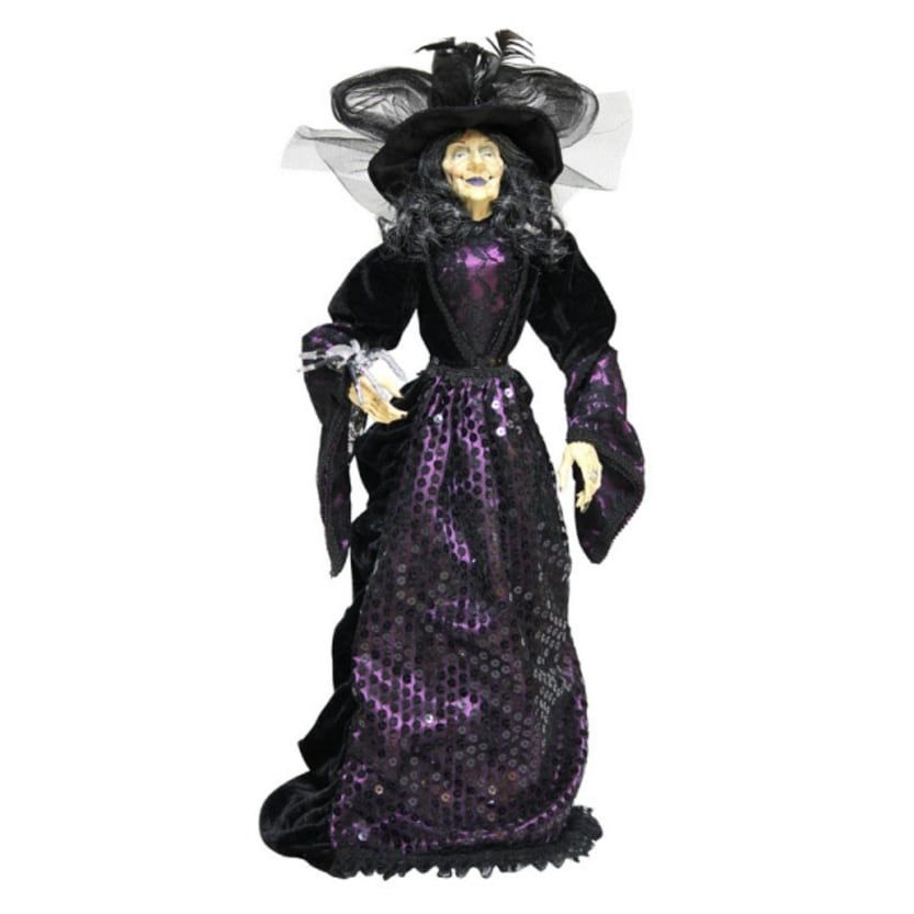 Pack of 2 Black and Purple Clad Halloween Witch Table Top - witch decorations