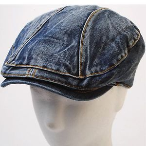 Denim Ivy Caps for Men | ... Blue Denim Newsboy Flat Cap Stitch Golf Gatsby Beret Ivy Hat | eBay