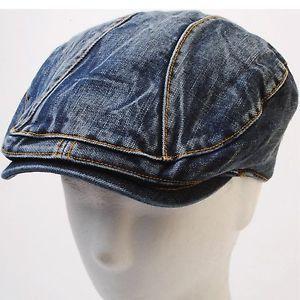 5f930ef3e New Distress Dark Blue Denim Newsboy Flat cap Stitch Golf Gatsby ...