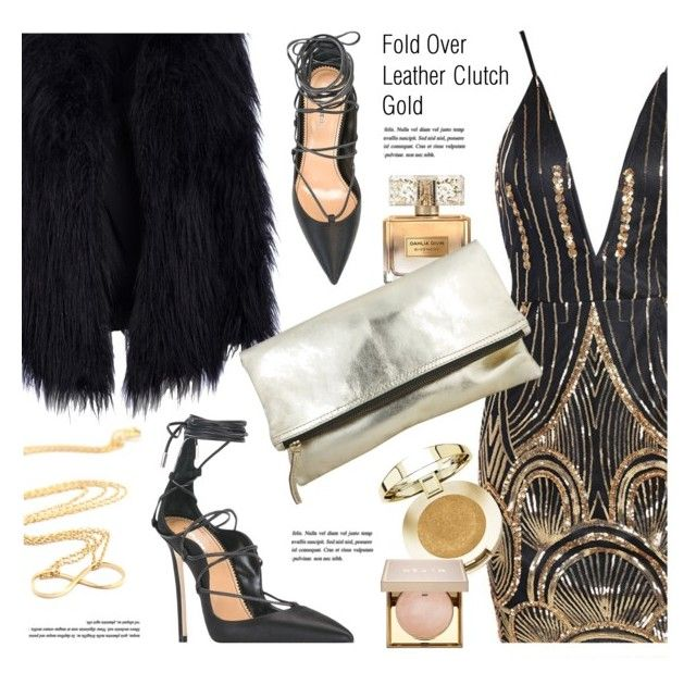 """Glam Look"" by mimicdesign ❤ liked on Polyvore featuring Givenchy, Dsquared2, Milani, Stila, outfit, gold, black, NightOut and foldoverclutch"