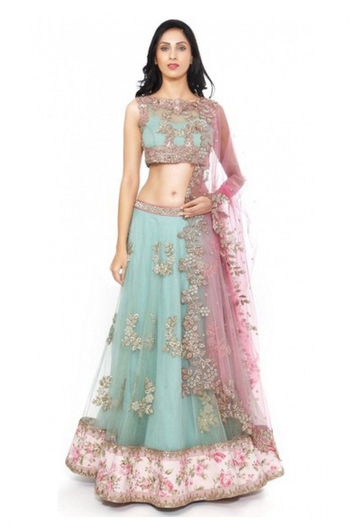 Georgette And Net And Silk Party Wear Lehenga Choli In Sky
