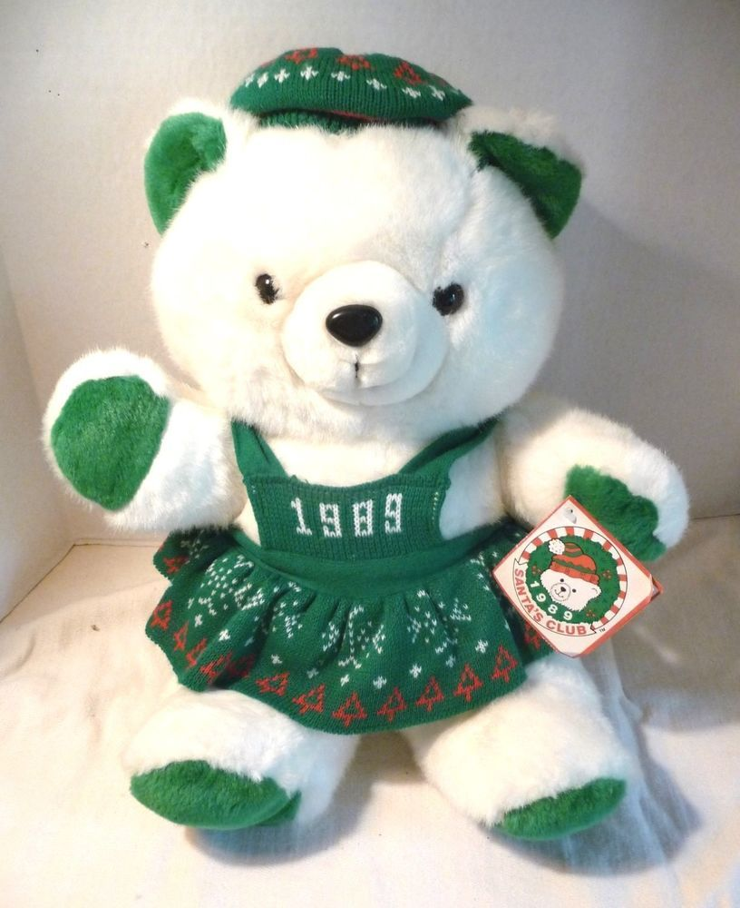 K Mart Christmas Teddy Bear with Tags 1989 White Girl Green Sweater ...