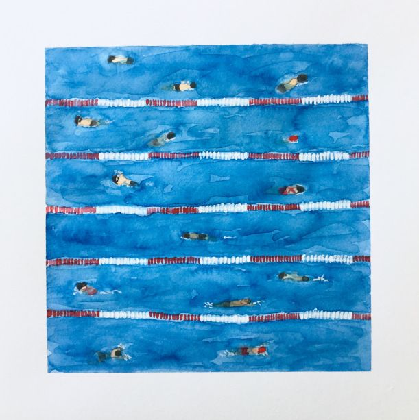 Swim Meet Warm Ups Painting Swimming Pools In Watercolor
