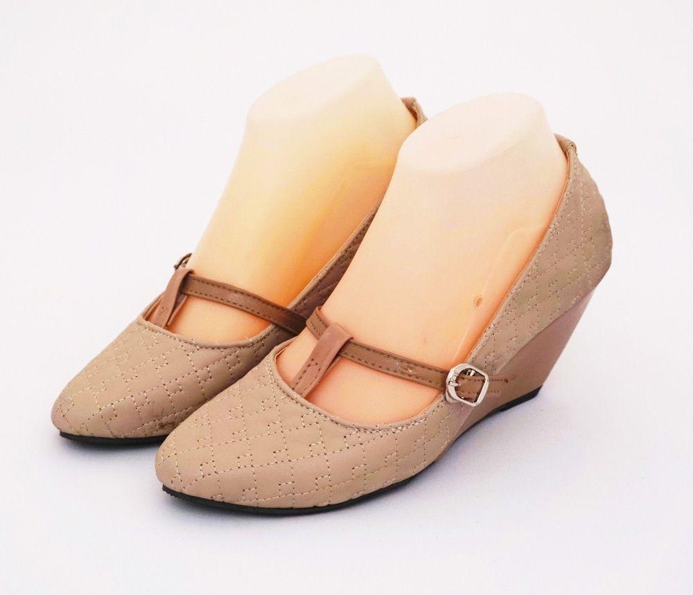 Sepatu Wedges Cantik Stylish Warna Coklat Moka Heels 7 Cm