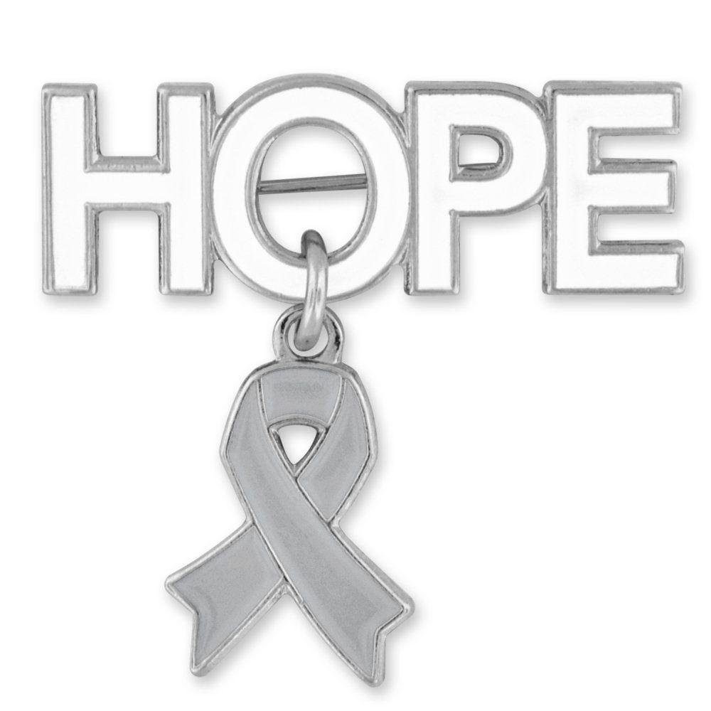 Pinmartus hope brooch pin with grey awareness ribbon charm