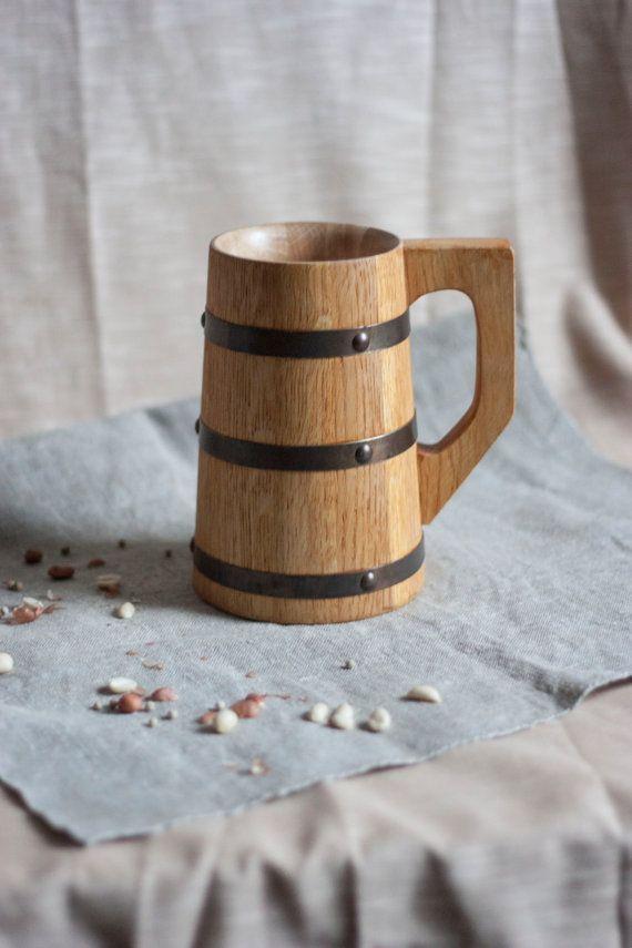 Hobbit Wooden Beer Mug 0 7 L 23oz Natural Wood