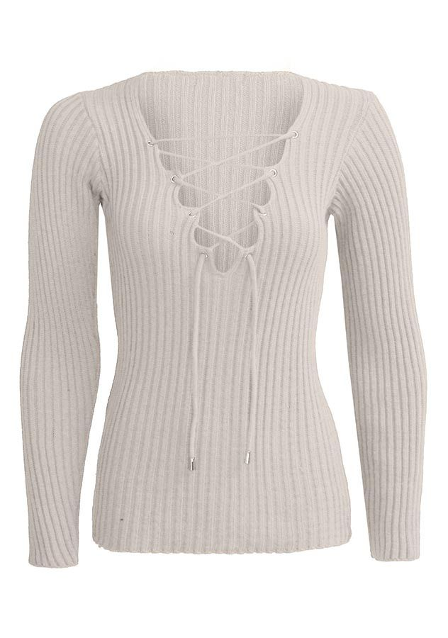5e656e8a4eb Womens Lace Up V-Neck Ribbed Stretched Knitted Long Sleeve Top ...