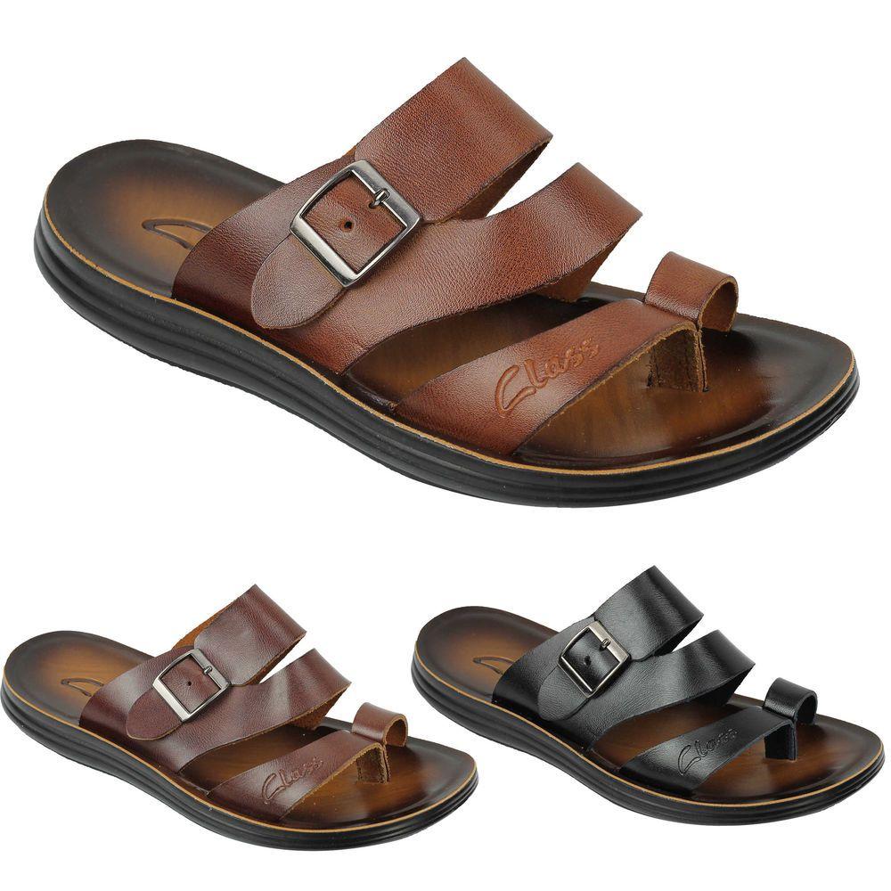 Mens Genuine Leather Sandals Adjule Top Strap Buckle Walking Beach Slippers