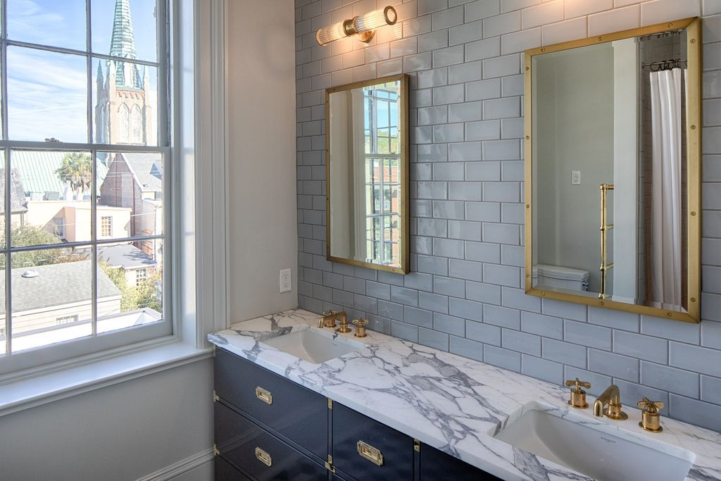 Campaign Style Sink In Navy With Gold Accents Yes Home And Family