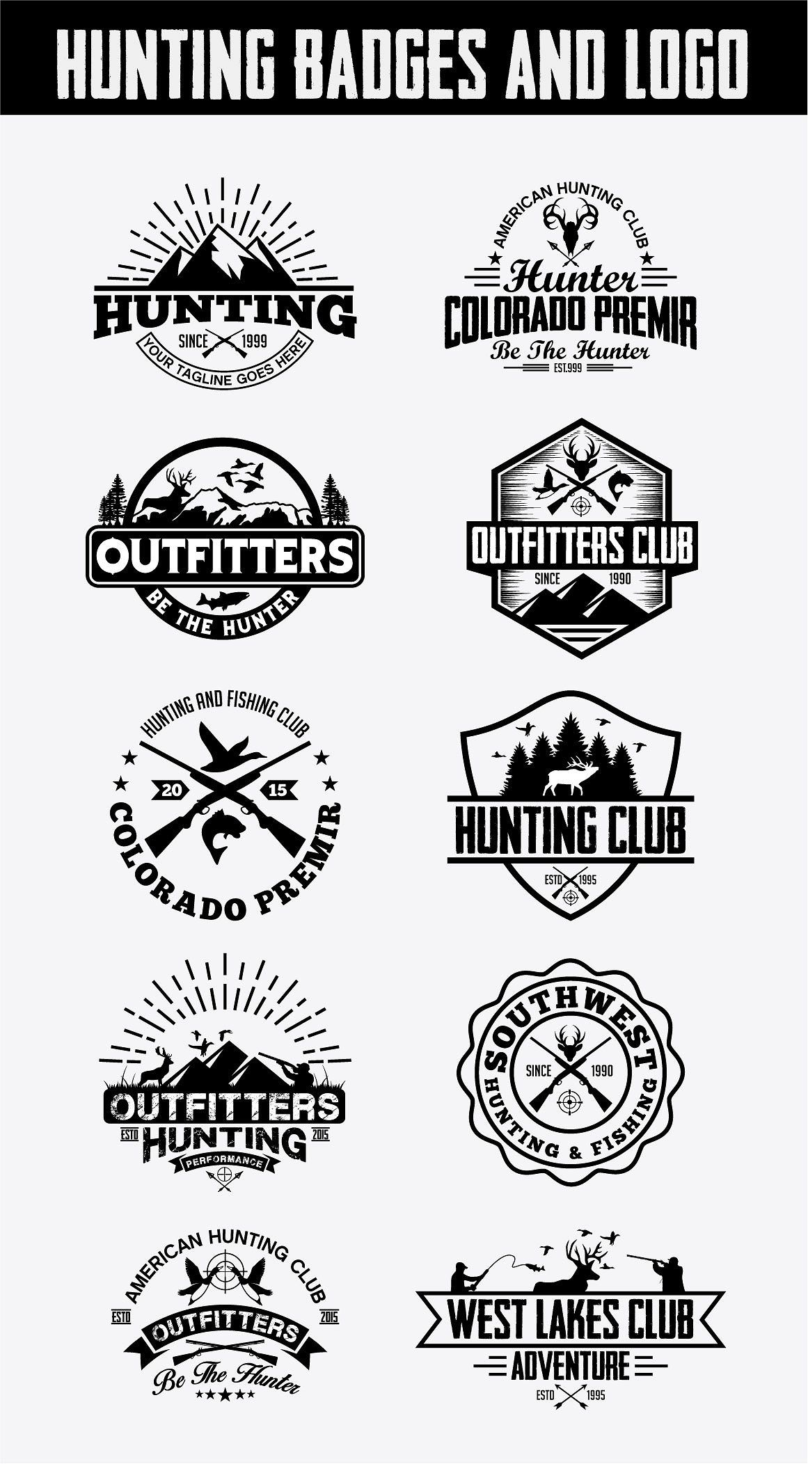 Hunting Vintage Badges And Logos Vector Stickers Losing