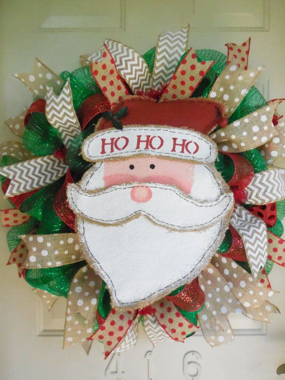 Burlap Santa Christmas Deco Mesh Wreath by TowerDoorDecor on Etsy