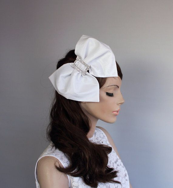 Big Bow Bridal Hair Fascinator Headband OOAK Taffeta Weddings Headdress, Off White Romantic Wedding