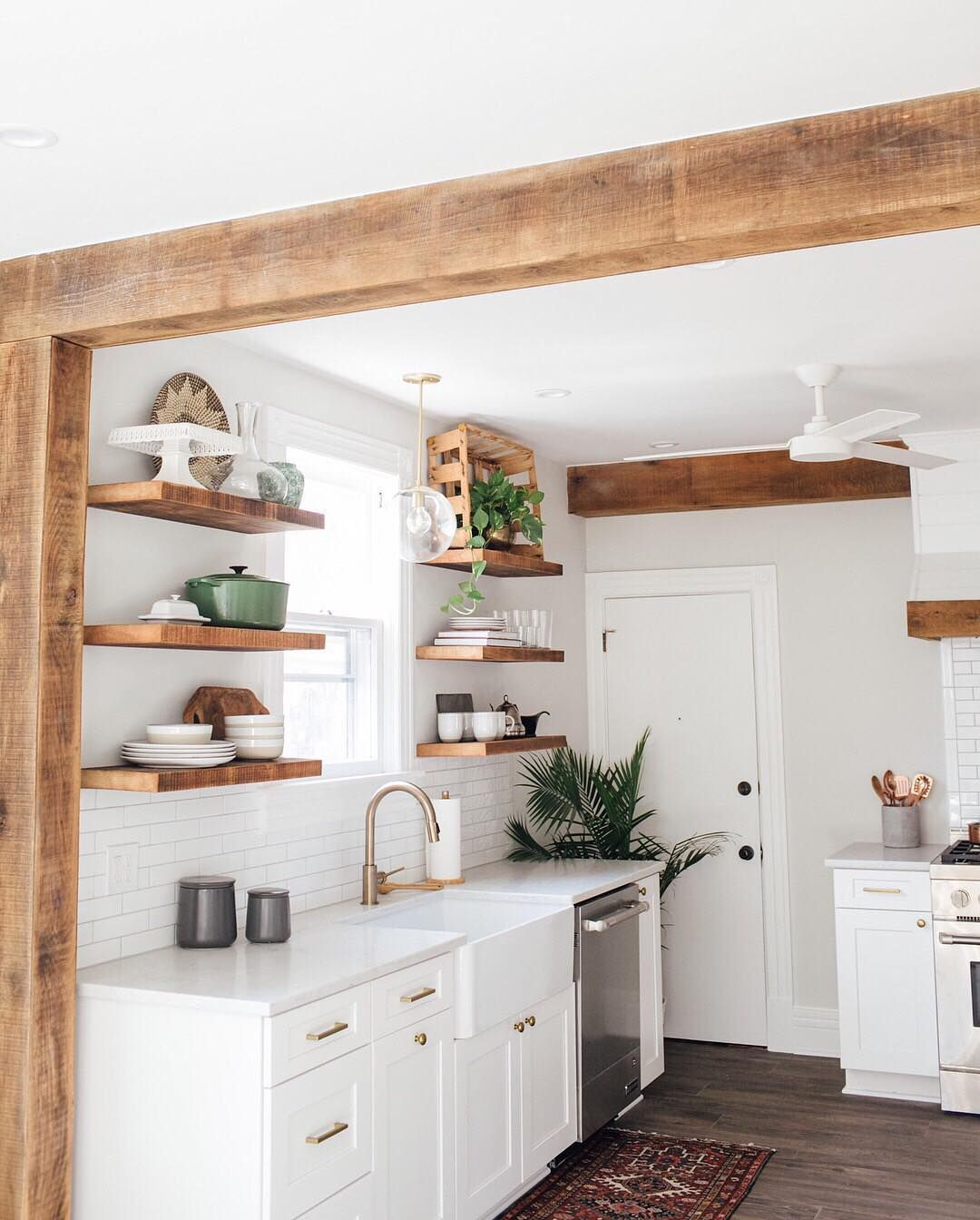 """Photo of Bedrosians Tile and Stone on Instagram: """"Such a pretty combination of bright white and warm wood tones in this kitchen designed by @contentandcompany / Get the look using Costa…"""""""