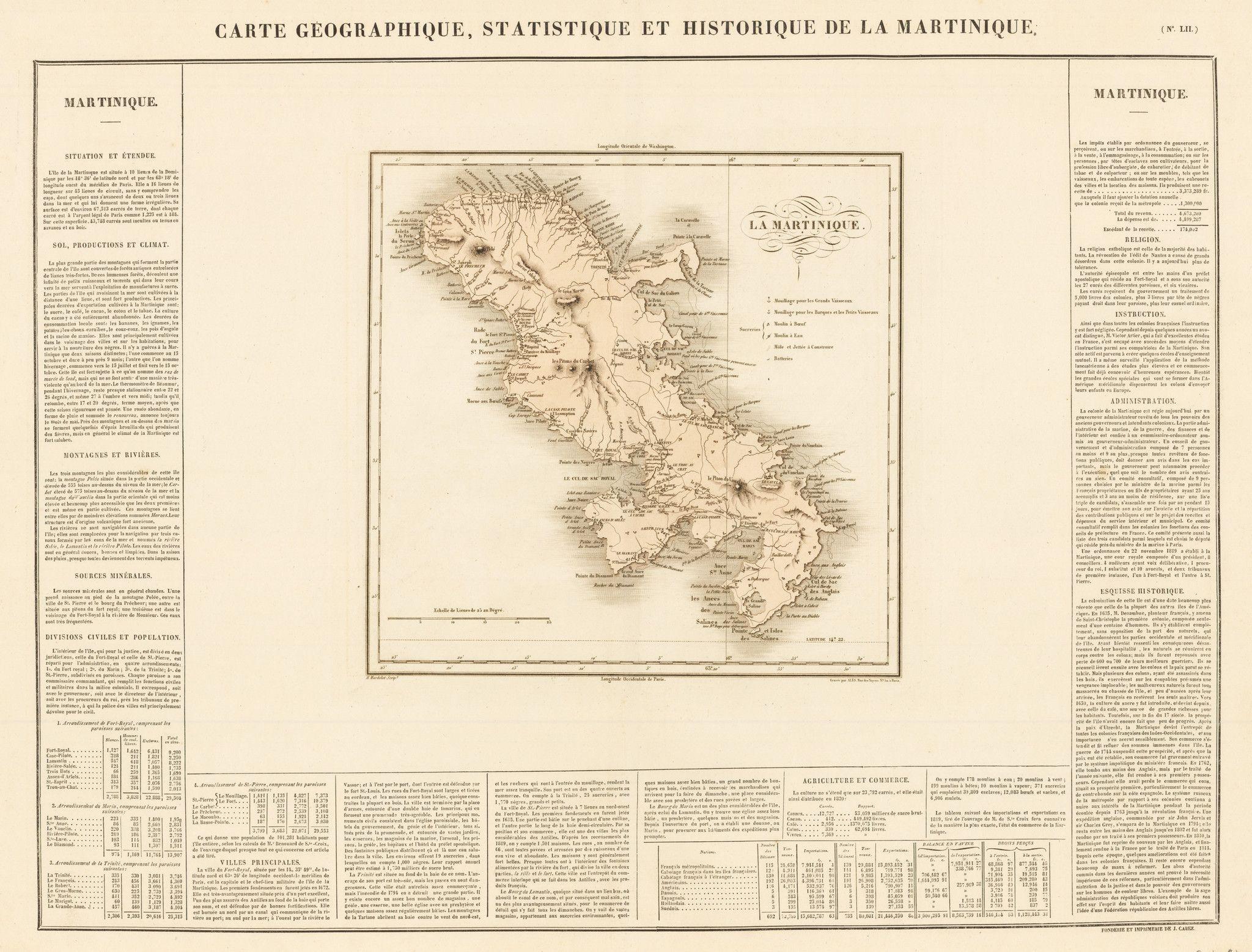 1825 Carte Geographique, Statistique, et Historique de la
