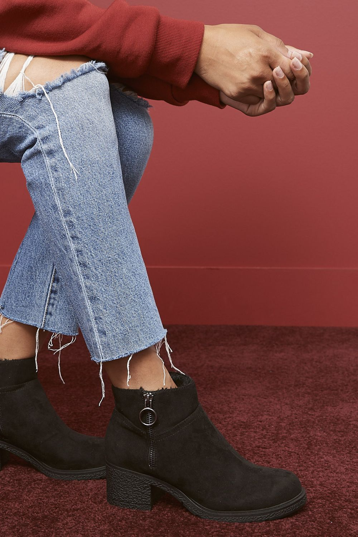 Leopard print boots, Black buckle boots