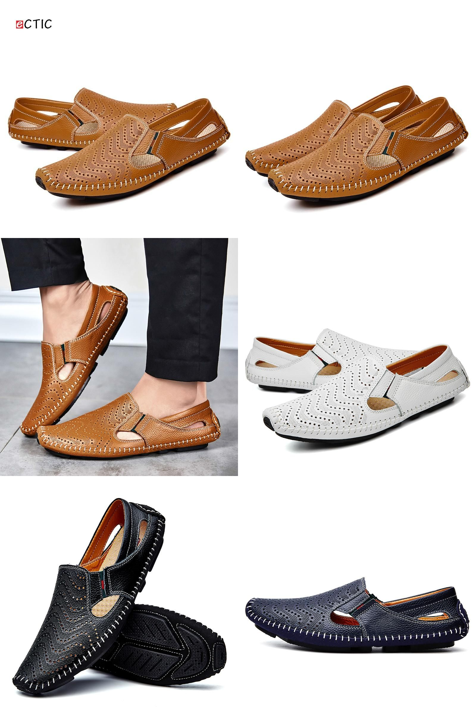 Men's Summer Casual Shoes Leather Slip-on Loafers Mesh Water Shoes Flat Slipper Plus Size 47 48