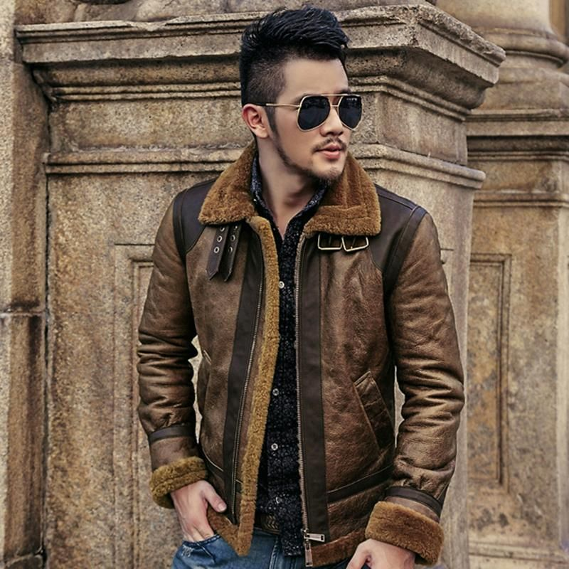 Men's Sheepskin Woolen Fur Genuine Leather Jacket Mens