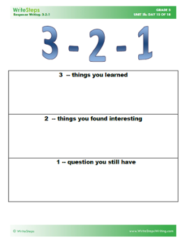 3 2 1 Summarizer Handout This Activity Gauges Individual
