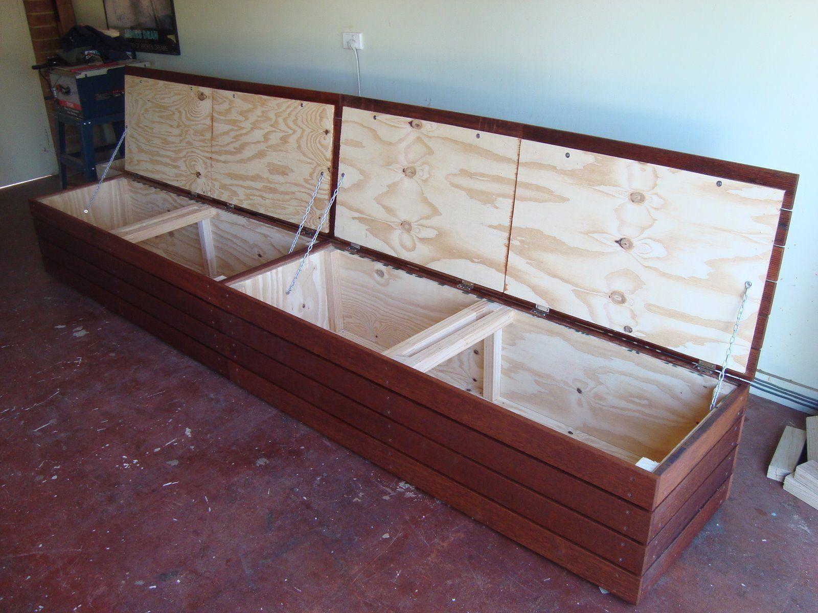 Merbau storage bench seat in home u garden furniture outdoor