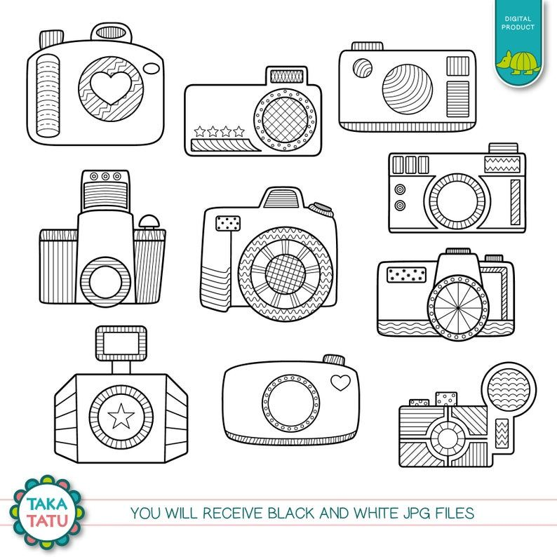 Camera Doodles Digital Stamp Pack Black And White Clipart Photography Clip Art Vintage Camera Clip Art Camera Digi Stamps Picture Camera Doodle Digital Stamps Clip Art Vintage