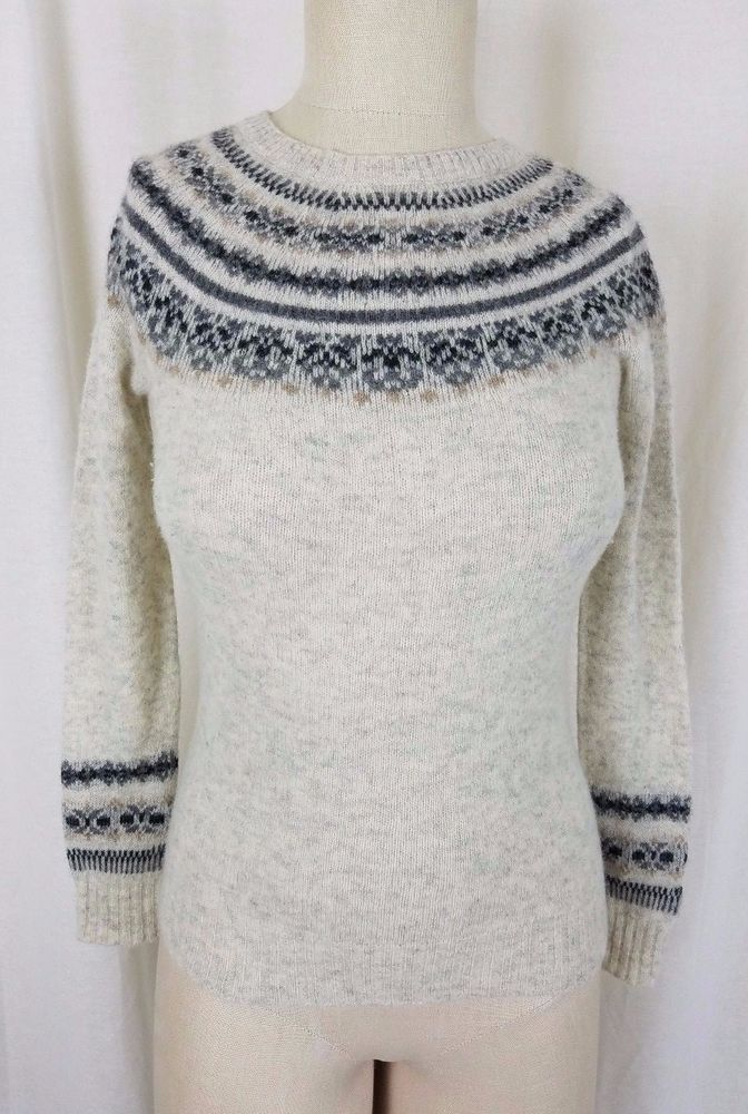 Banana Republic Wool Cashmere Cream Nordic Fair Isle Knit Sweater ...