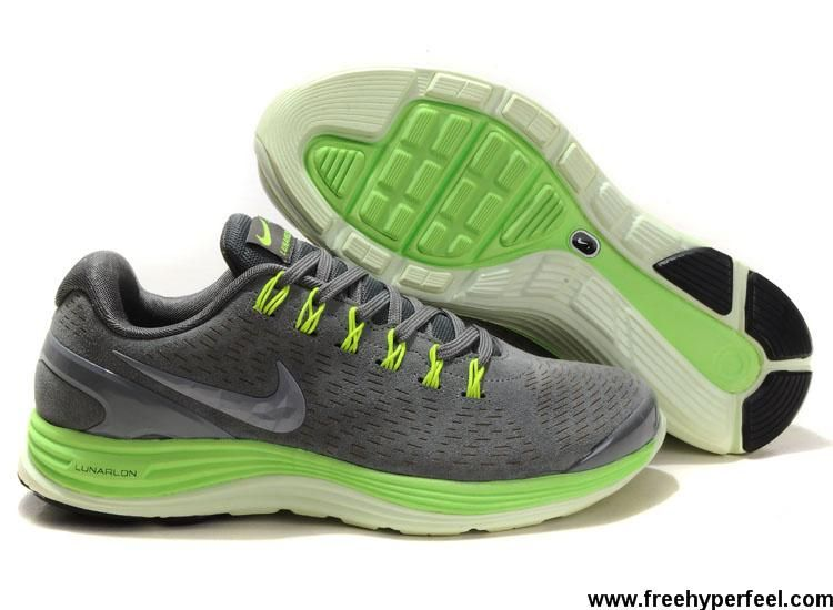 newest 5eeee 27c2d Sale Discount Suede Stealth Silver Electric Green Nike LunarGlide 4  524977-007 Mens Sports Shoes Store