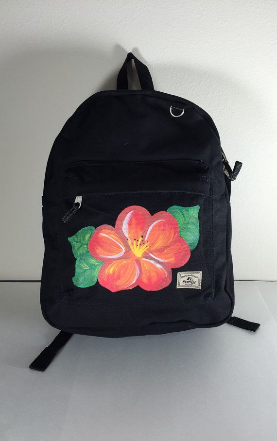 Flower Backpack Everest Laptop Backpack Black Cotton Canvas Bag