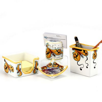 DERUTA - 'VARIO, ROSSO' Collection - Desk Set, 4-pc (multiple pieces available) | Artistica Italian Ceramics