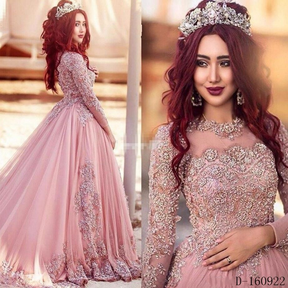 Blush pink muslim wedding dress 2017 with court train appliques blush pink muslim wedding dress 2017 with court train appliques lace beading crystals long sleeves vintage ombrellifo Gallery