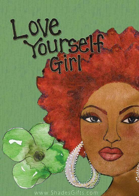 Love yourself Girl Black artwork, Art
