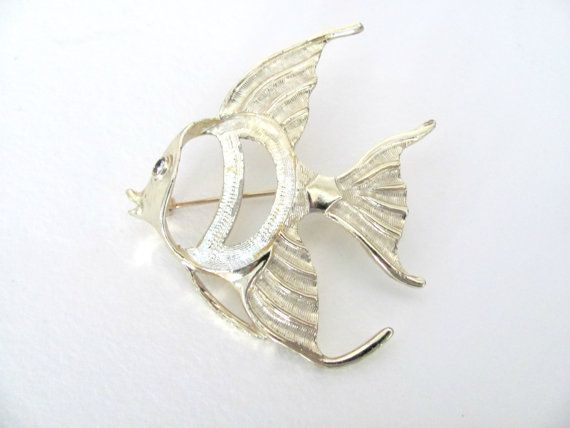 Vintage Fish Brooch  1970's Gold Fish Animal by BroochesTheSubject, $14.50