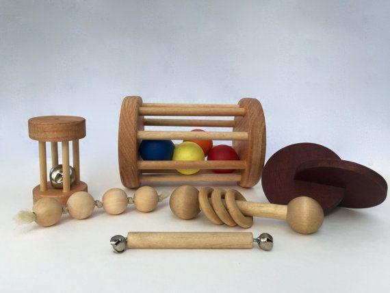 Montessori 4-8 Month Baby Set of 5 Toys -- Montessori Infant Set -- 4-8 Month Motor Development Set