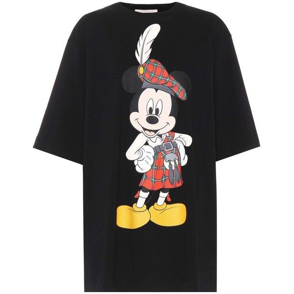ebe83074 Christopher Kane Mickey Mouse® Cotton T-Shirt ($280) ❤ liked on Polyvore  featuring tops, t-shirts, black, mickey mouse tee, christopher kane t shirt,  ...