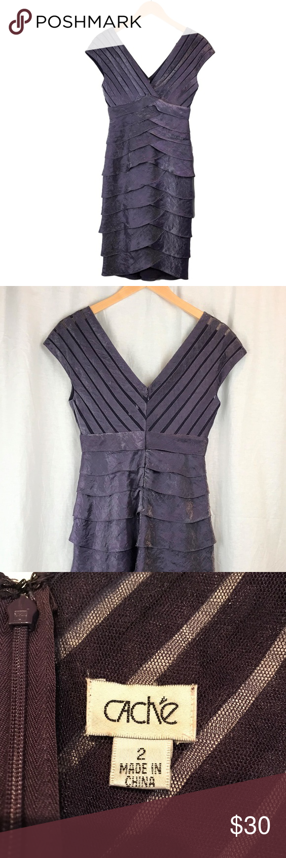 Cache Purple Ribbons Cocktail Dress