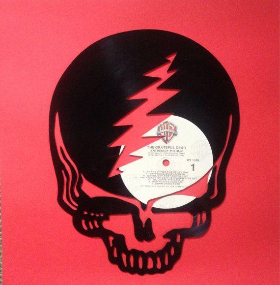 Grateful Dead Skull Silhouette Made From A Vinyl Record Album
